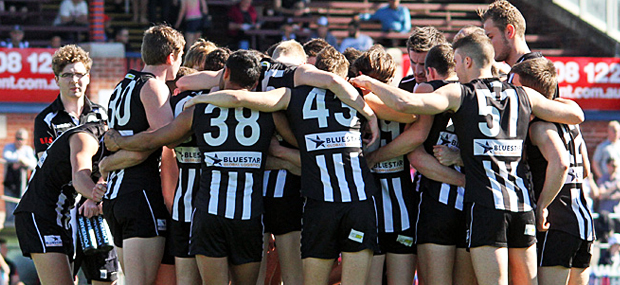 The 2012 VFL Magpies huddle up.