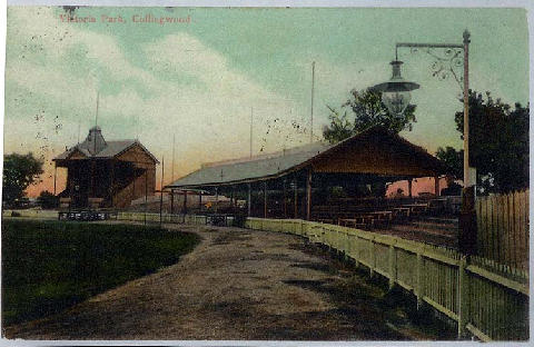 A view from the Abbot Street wing across the Ladies to the original grand stand before its relocation (1900s).