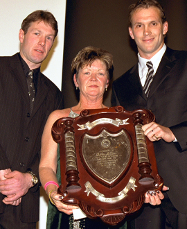 Gavin Brown, Denise Millane (Darren's mum) and Jarrad Molloy in 2001.