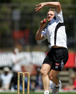 Nathan Buckley in action during the 20/20 Tsunami cricket match between Melbourne and Collingwood at Junction Oval on January 30, 2005.