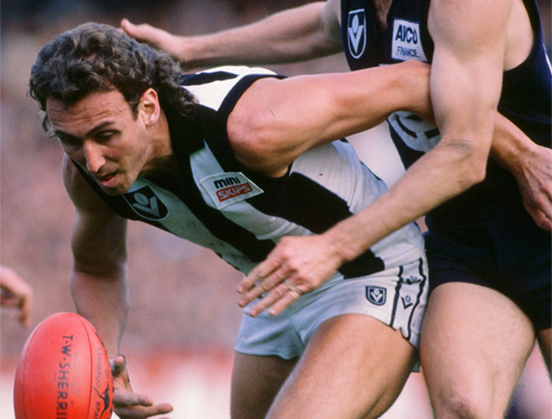 Peter Daicos up against Carlton in a match in 1988.