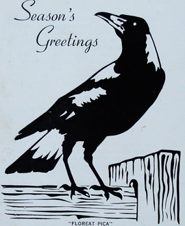 The motto 'Floreat Pica' features on the front of the club's 1974 Christmas card.