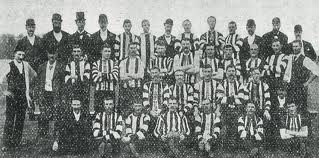 The earliest known photograph of a Collingwood team, in 1895, as published in Collingwood at Victoria Park - Revised and Updated Edition (Roberts and McFarlane, 2005).