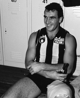 Darren Millane in the rooms after a match in 1991.