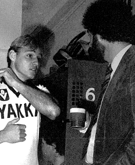 Mike Richardson with club psychologist Dr. Michael Bernard in 1984.