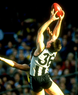 Saverio Rocca flies for a mark against West Coast in the round 13 contest in 1993, the match he was nominated for the AFL Rising Star Award.
