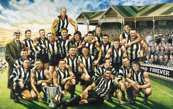 A painting of 'The Team of the Century' by Jamie Cooper.