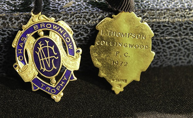 The 1972 Brownlow Medal, as won by Collingwood champion Len Thompson. Photo: Sarah Muling.