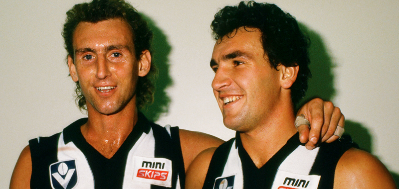 Peter Daicos and Darren Millane played key roles in Collingwood's win over North Melbourne in round nine, 1990.